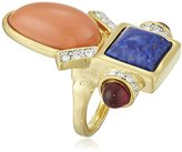 Kenneth Jay Lane Oval Deco Adjustable Ring, Size 5-7