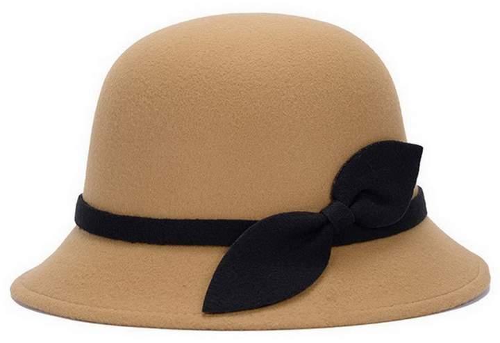 aaa0ead20d4a Brcus Women Wool Felt Cloche Cap Bucket Top Hat Bowler Hats with Bow Band  (Black)