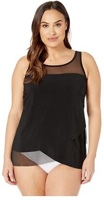 Miraclesuit Plus Size Solid Mirage Tankini Top (Black) Women's Swimwear