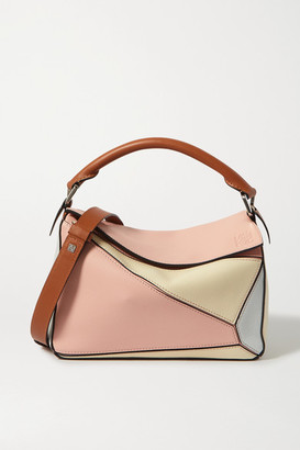 Loewe + Paula's Ibiza Puzzle Color-block Textured-leather Shoulder Bag - Pink
