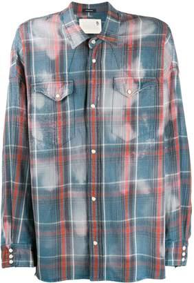 R 13 plaid bleach stain shirt