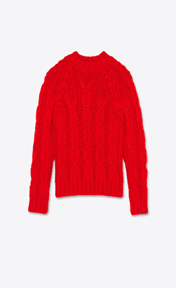 Saint Laurent Cable-knit Sweater In Wool And Mohair Red L