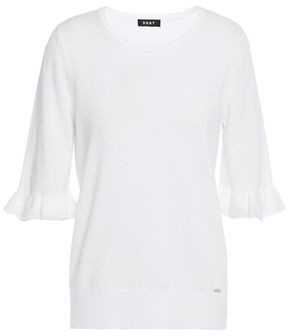 DKNY Ruffled Cotton-jersey Top