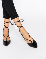 Glamorous Black Patent Ghillie Flat Shoes