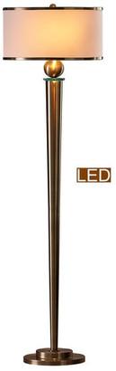 """Artiva USA Venetian 63"""" LED Floor Lamp w/ Dimmer, Antique Satin Brass"""