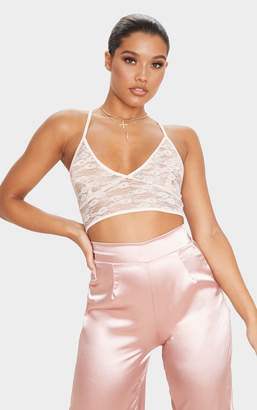 PrettyLittleThing Nude Sheer Lace Triangle Bralet