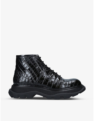 Alexander McQueen Tread lace-up croc-embossed leather boots