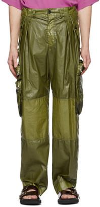 Dries Van Noten Khaki Coated Cargo Pants