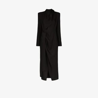 ALEKSANDRE AKHALKATSISHVILI Draped Wrap Midi Dress