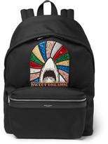 Saint Laurent City Appliquéd Canvas Backpack