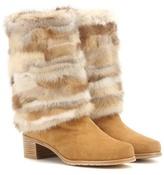 Stuart Weitzman Blizzard Fur-trimmed Suede Boots