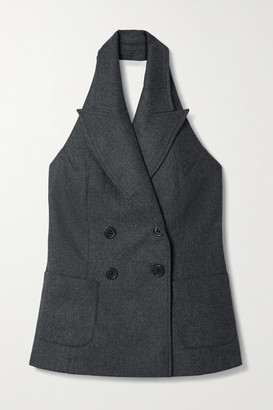 Racil Cathy Double-breasted Wool-blend Halterneck Vest - Anthracite