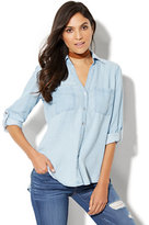 New York & Co. Soho Soft Shirt - Embroidered Ultra-Soft Chambray - Light Indigo