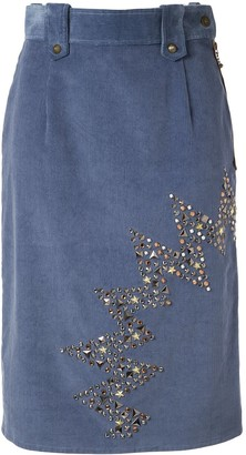 Kolor Stud-Embellished Corduroy Skirt