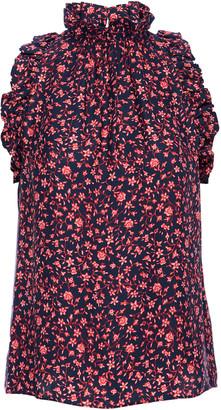 Frame Floral Ruffle-Trim Silk Halter Top