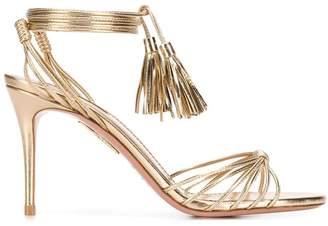 Aquazzura Metallic Ankle Tie Sandals