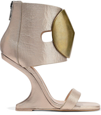 Rick Owens Disc Embellished Metallic Textured-leather Wedge Sandals