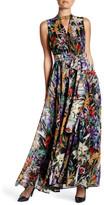 Catherine Malandrino Sleeveless Floral Printed Chiffon Maxi Dress