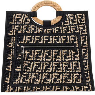 Fendi Runaway Large FF Raffia Shopping Tote Bag