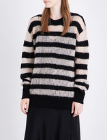 McQ Striped knitted wool and mohair-blend jumper