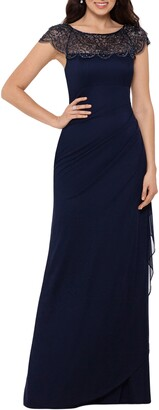 Xscape Evenings Beaded Ruched Side Gown