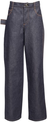 Bottega Veneta Cotton Denim Jeans W/ Metal Buckles