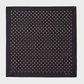 Paul Smith Men's Black Signature Stripe Polka Dot Silk Pocket Square