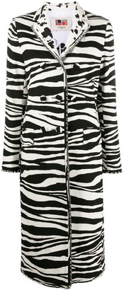 Ports 1961 Zebra-Print Single Breasted Coat