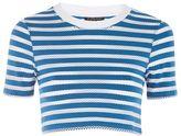 Topshop Stripe airtex crop t-shirt