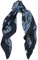 Saint Laurent Paisley-print Silk-twill Scarf - Navy