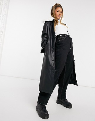 ASOS DESIGN leather look trench with faux fur collar in black
