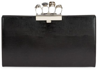 Alexander McQueen Skull Four-Ring Leather Flat Pouch