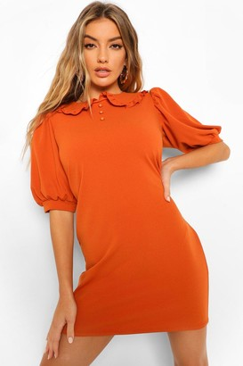 boohoo Oversized Frill Collar Shift Dress