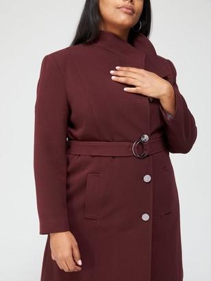 V By Very Curve Belted Formal Coat - Burgundy
