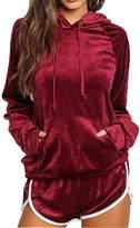 Fixmatti Women Fall Winter Velvet Pullover Hoody Top Pant Tracksuit Sport Sweat Suit Set