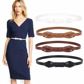 WERFORU Slim PU Leather Belt Women's Extra Thin Hip Belt Pack of 4 Multicoloured Optional Stylish Waist Belt for Jeans Dress - Multicolour - One size