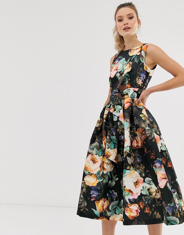 Closet London Closet v back full skirt dress-Black
