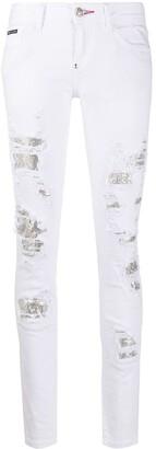 Philipp Plein Crystal-Embellished Distressed Jeans