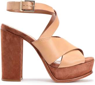 Schutz Leather And Suede Sandals