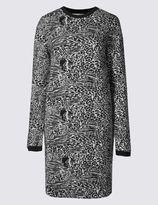 Marks and Spencer Jacquard Print Long Sleeve Shift Dress