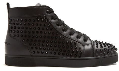 newest 7e275 3c06a Louis Spike Embellished High Top Leather Trainers - Mens - Black