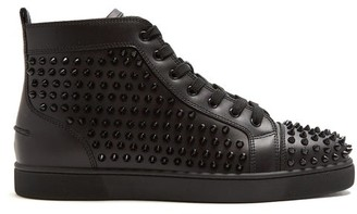 Christian Louboutin Louis Spike-embellished High-top Leather Trainers - Black