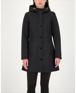 Jones New York Hooded Water-Resistant Quilted Coat