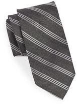 Black Brown 1826 Textured Chevron Striped Silk Tie