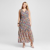 Sami & Dani Women's Plus Size Floral Print Maxi Dress - Tile Blue