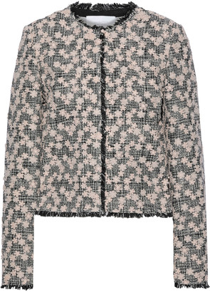 Giambattista Valli Floral-appliqued Cotton-blend Tweed Jacket