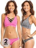 Myleene Klass 2 Pack Strappy Mesh Sports Bra - Grey Marl/Pink