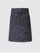 M&S Collection Textured Buckle A-Line Mini Skirt