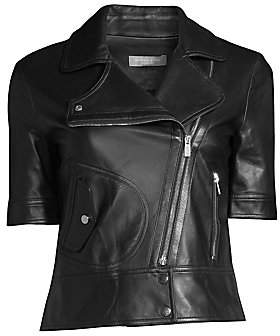 Michael Kors Women's Short Sleeve Leather Moto Jacket