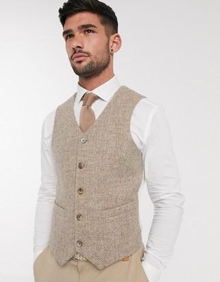 ASOS DESIGN wedding Harris Tweed slim waistcoat with wool herringbone in camel